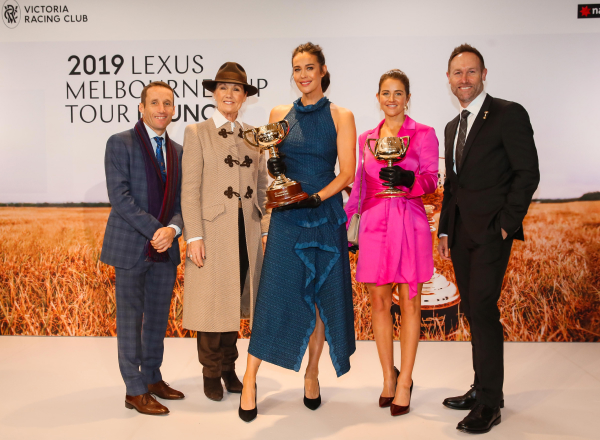 Megan Gale with the Lexus Melbourne Cup